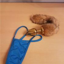 Blauwe mini string van katoen